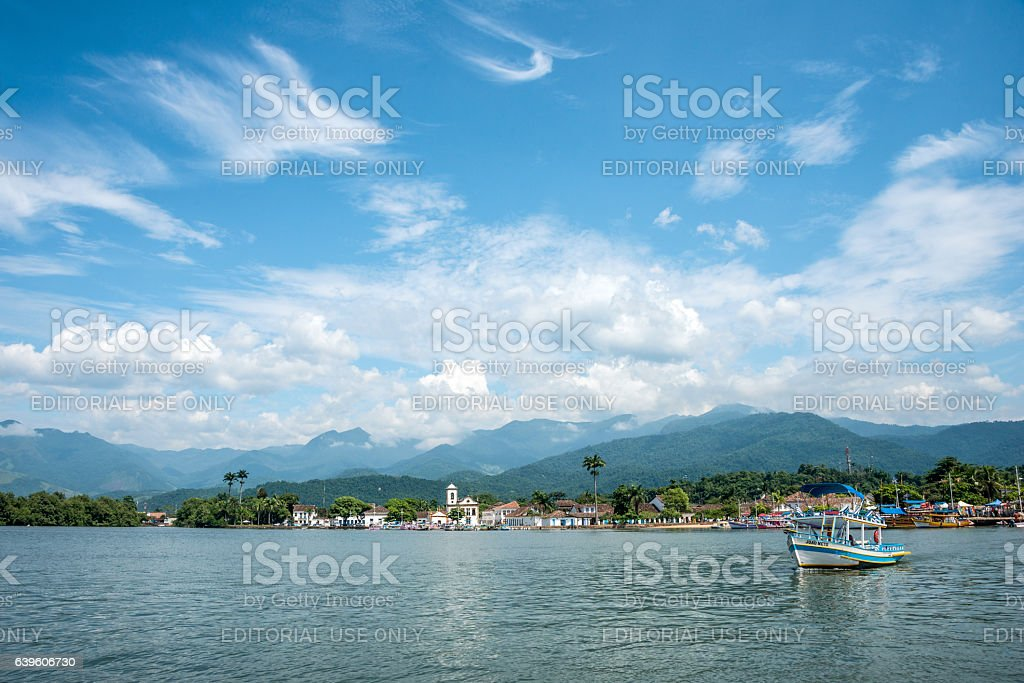 Tourist boats in Paraty, state Rio de Janeiro stock photo