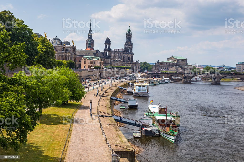 Tourist boats on Elbe River in Dresden royalty-free stock photo