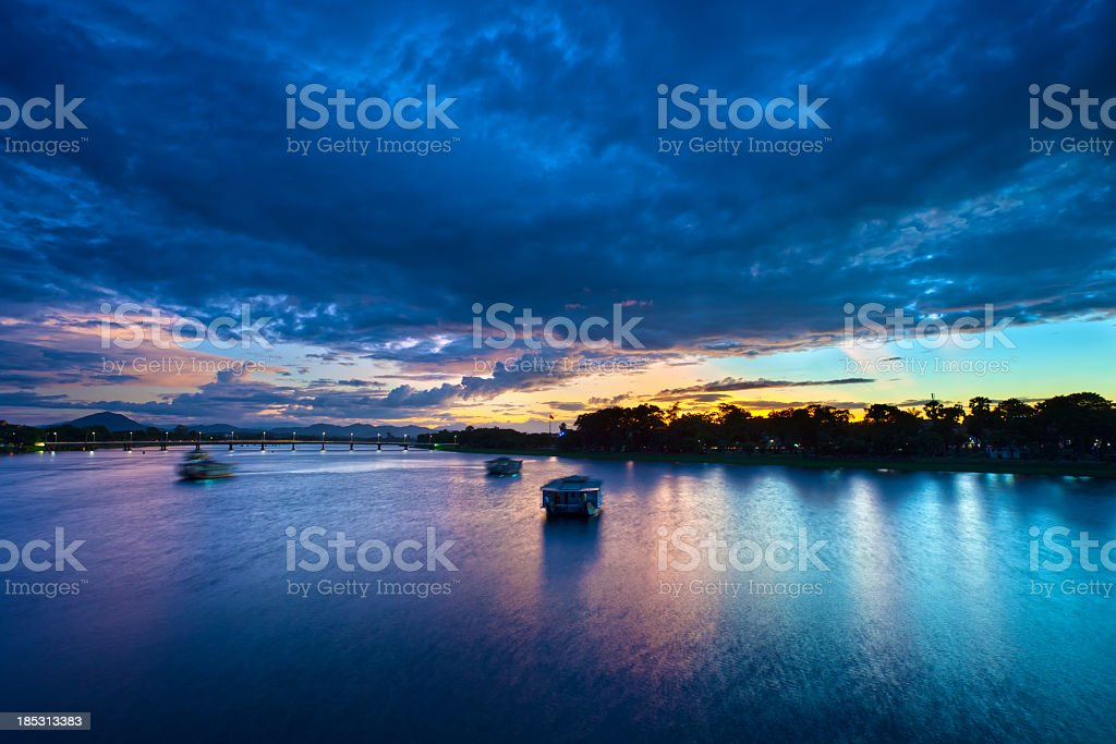 Tourist boats on Hue's Perfume River stock photo