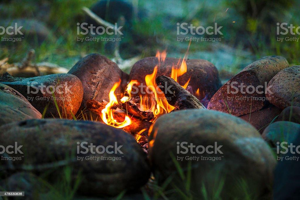 Tourist fogata al atardecer en el bosque - foto de stock