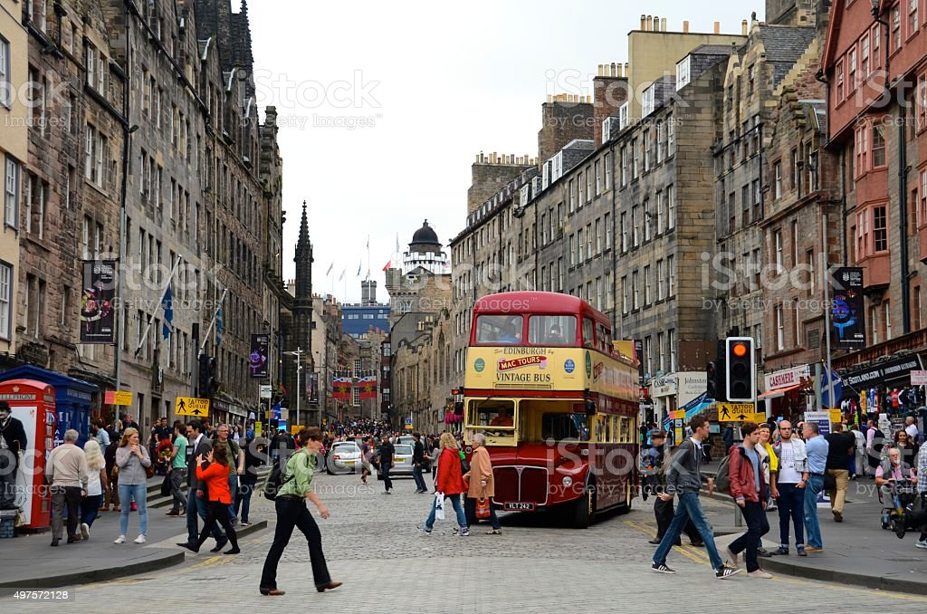 Tourist bus in Edinburgh stock photo