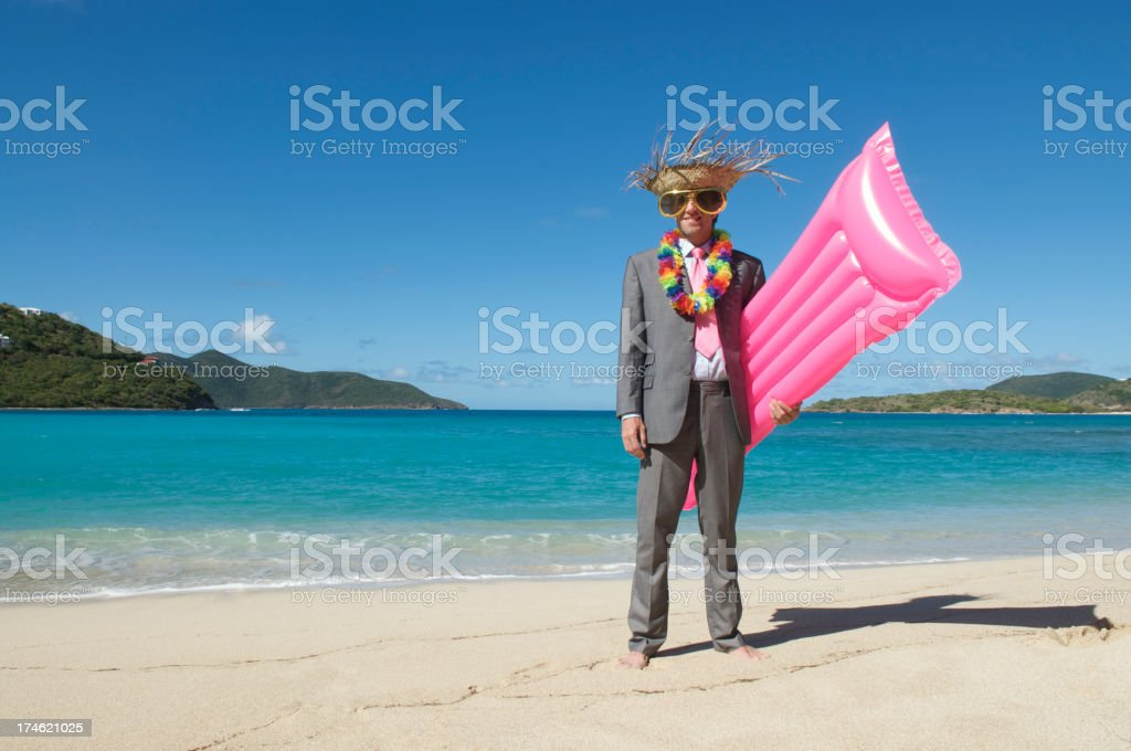 Tourist Businessman Standing on Beach Ready for Vacation royalty-free stock photo