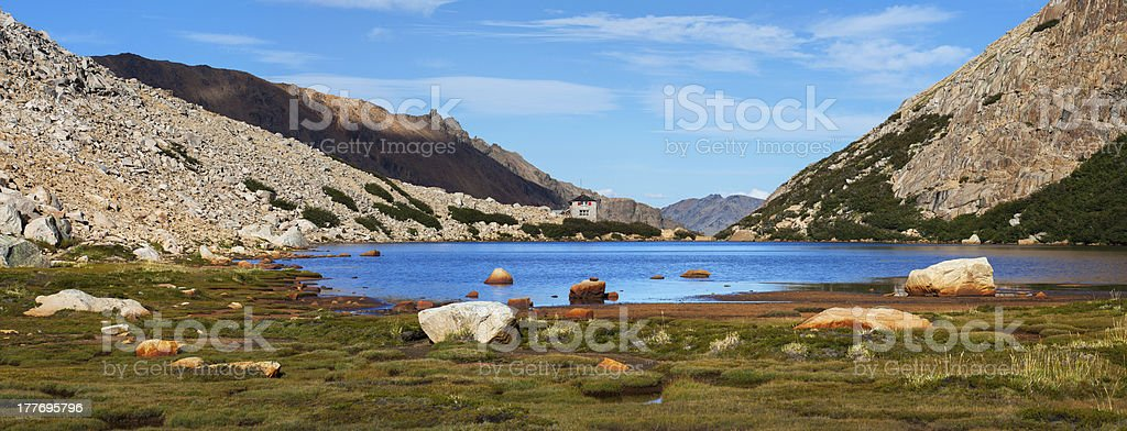 Tourist camp Frey, Tonchek lagoon, Patagonia, Argentina royalty-free stock photo