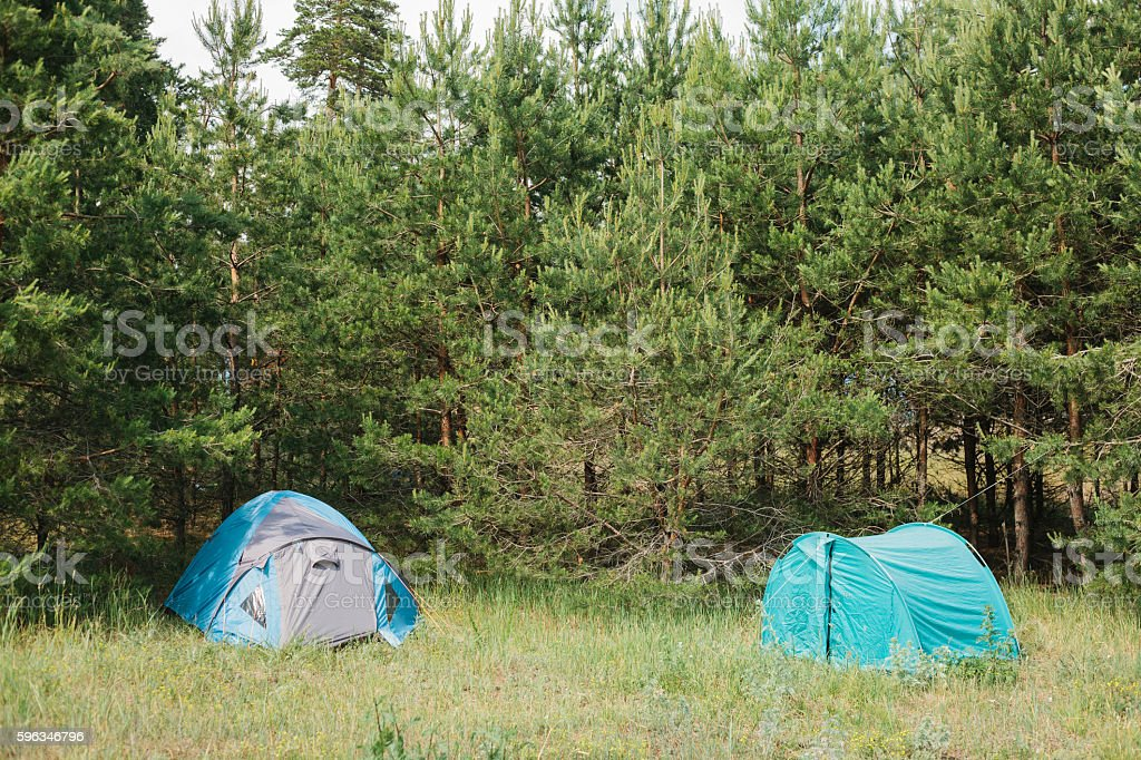 Tourist camp in the woods. Camping. royalty-free stock photo
