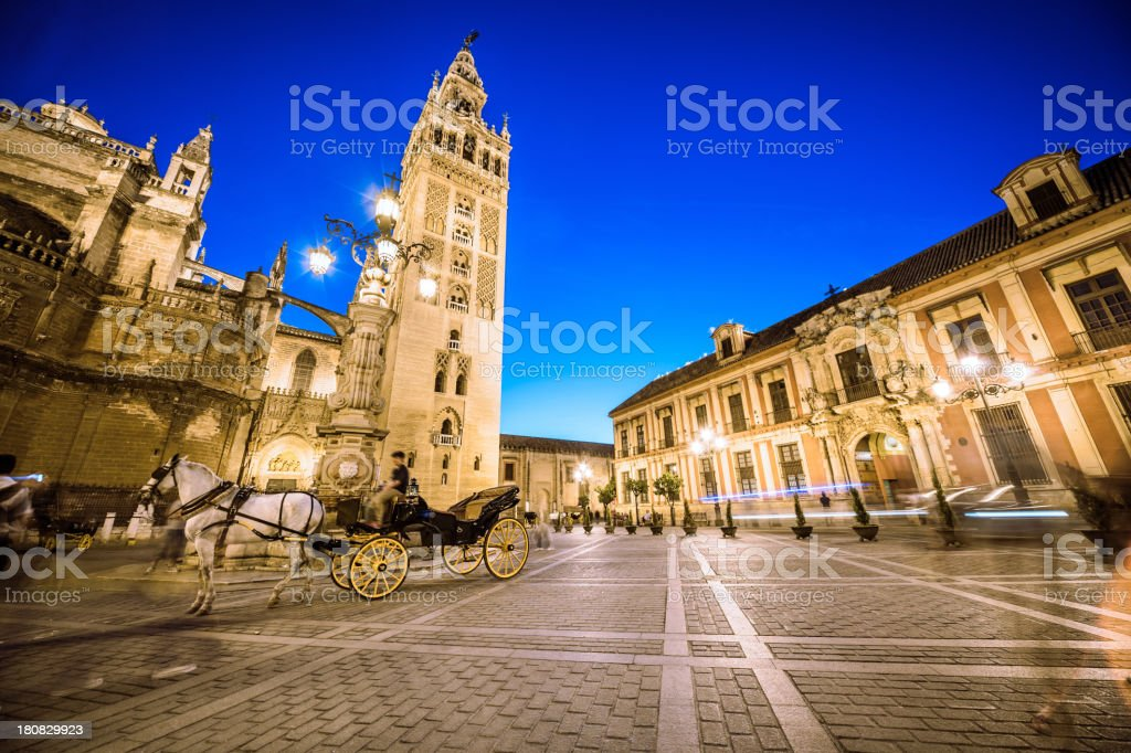 Tourist carriage in Seville stock photo