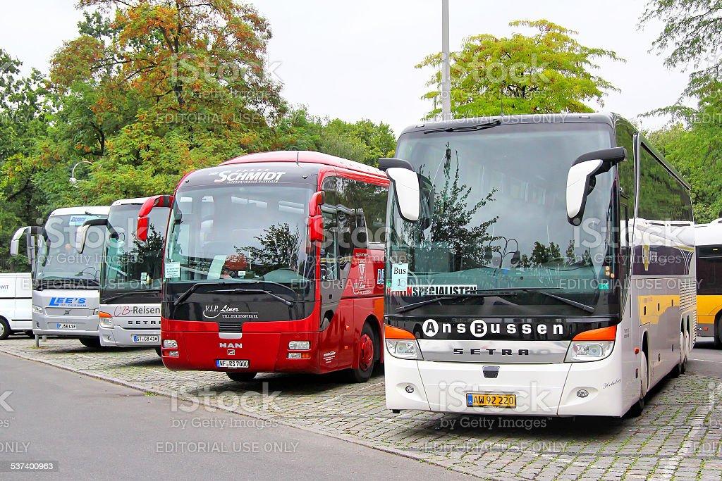 Tourist coaches stock photo
