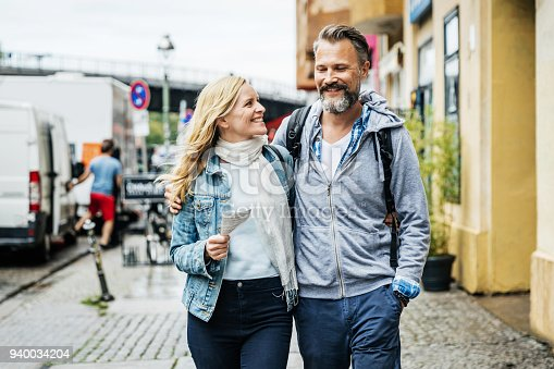 istock Tourist Couple Embrace While Out Exploring The City 940034204