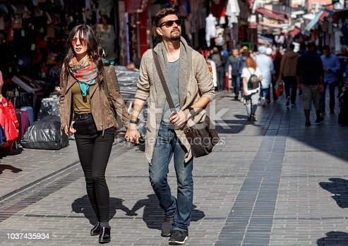 Tourist couple enjoying sightseeing, Istanbul, Turkey