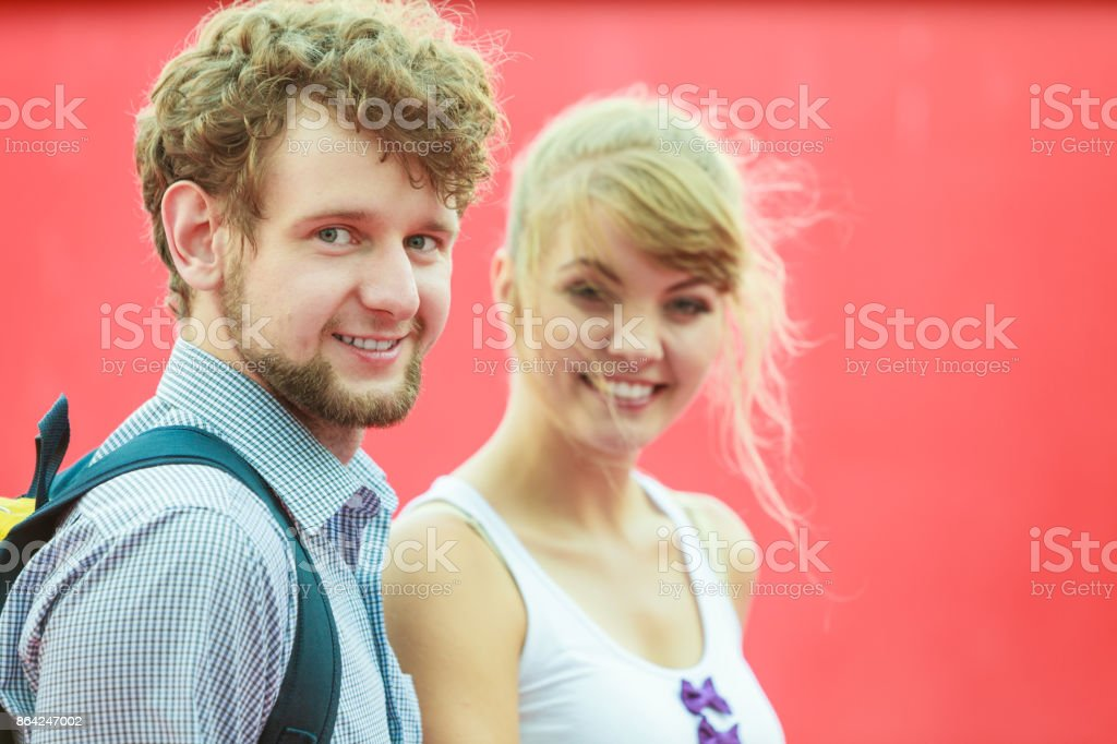 Tourist couple in love traveling together dating royalty-free stock photo