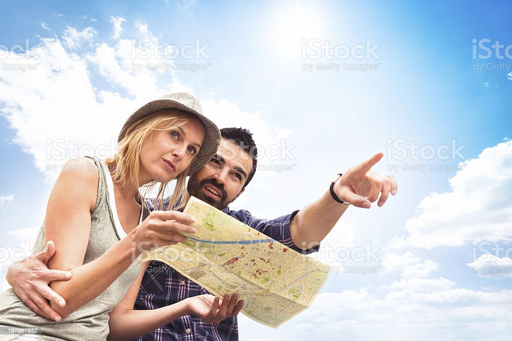 Tourist couple on vacation royalty-free stock photo