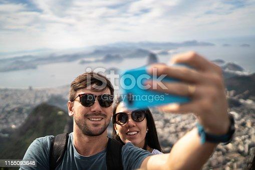Tourist couple taking a selfie in Rio de Janeiro