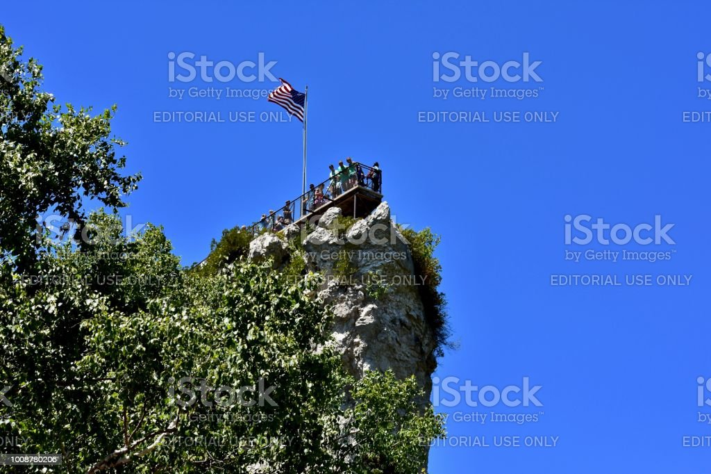Turista destino - Castle Rock na península superior de Michigan. ESTADOS UNIDOS DA AMÉRICA - foto de acervo