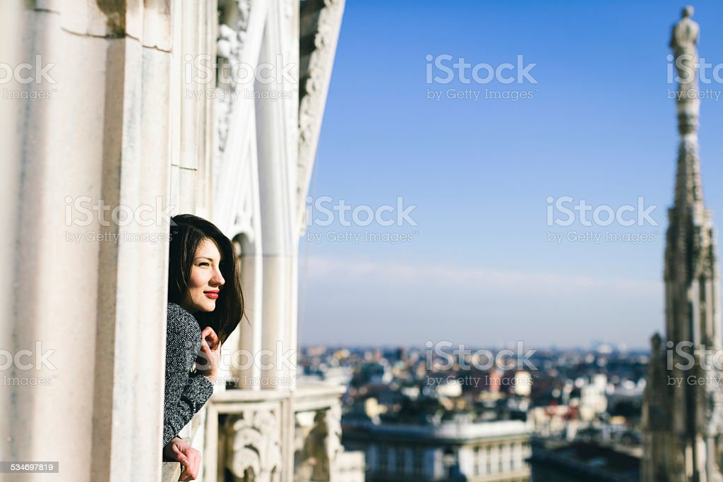 Tourist discovering Milan royalty-free stock photo