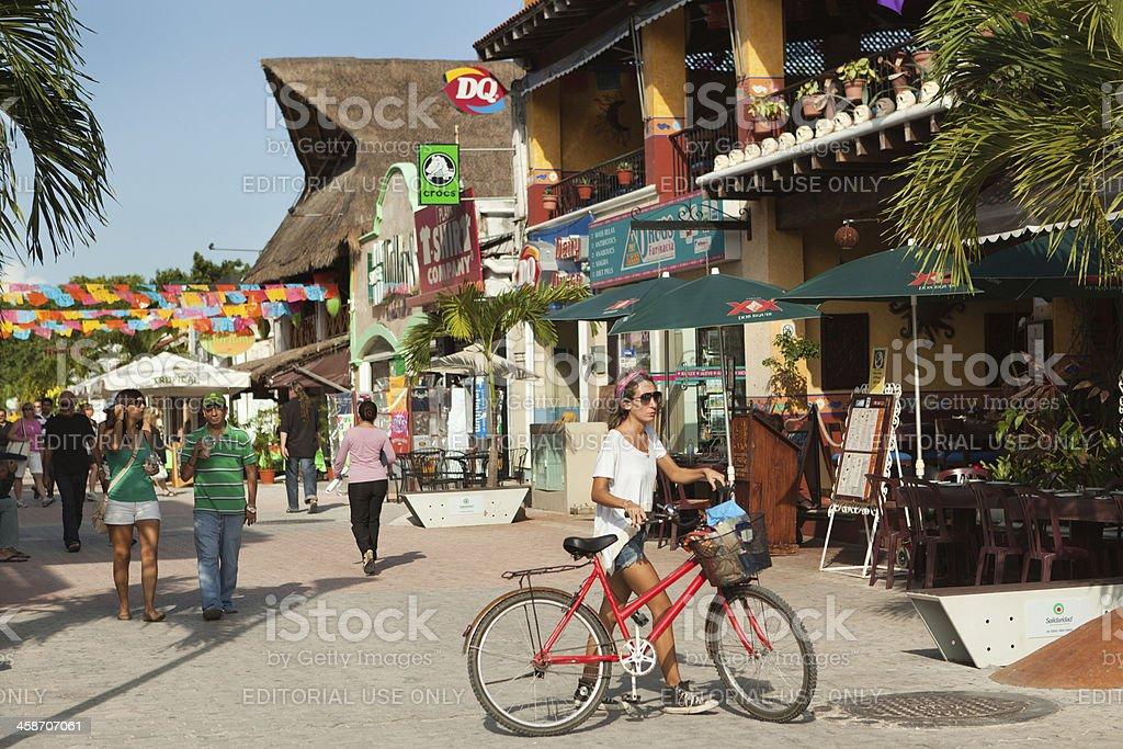 Tourist District of Playa del Carmen in Mexico stock photo