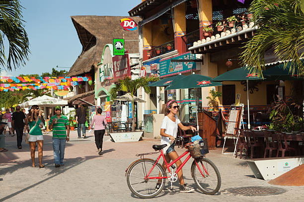 tourist district of playa del carmen in mexico - playa del carmen stock photos and pictures