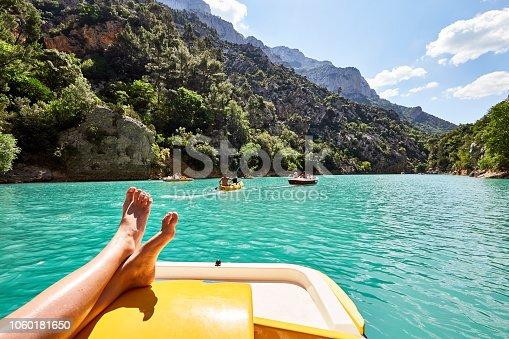 tourist doing nautical activites at St Croix Lake, Les Gorges du Verdon, Provence, France