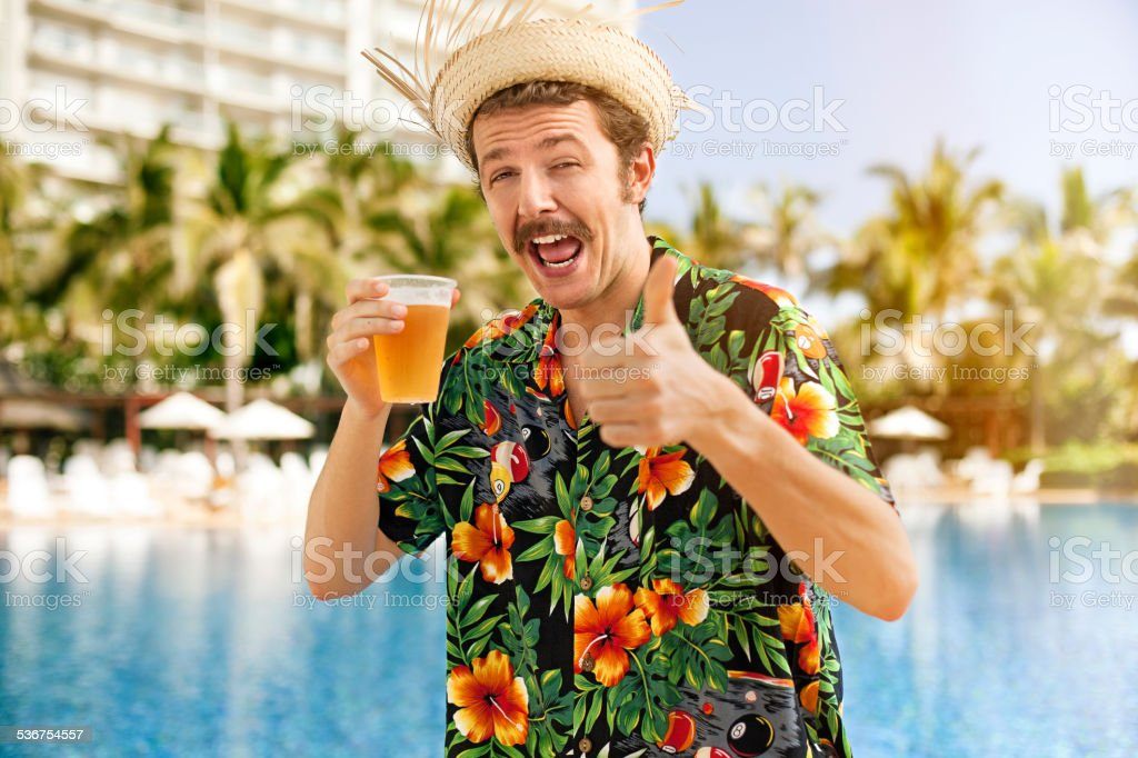 Tourist drinking beer stock photo