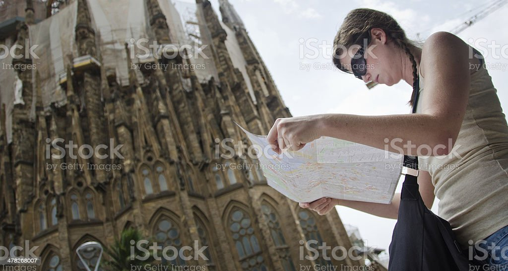 Tourist Enjoying Barcelona royalty-free stock photo