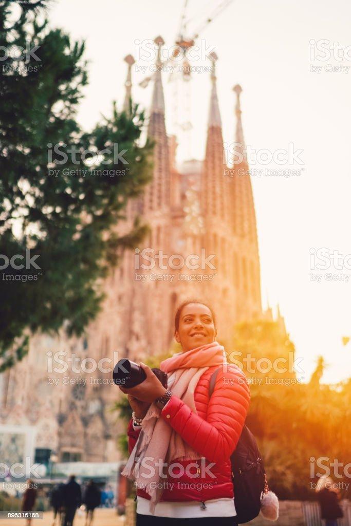 Tourist enjoying Barcelona stock photo
