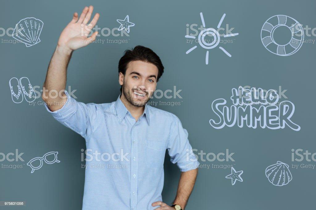 Tourist-Entertainer, Lächeln und winken seine hand - Lizenzfrei Ein Mann allein Stock-Foto