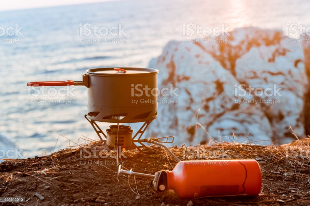 Tourist equipment and tools: camping gas stock photo