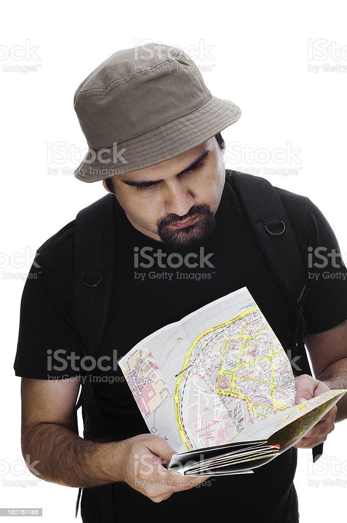 Tourist examining the map royalty-free stock photo