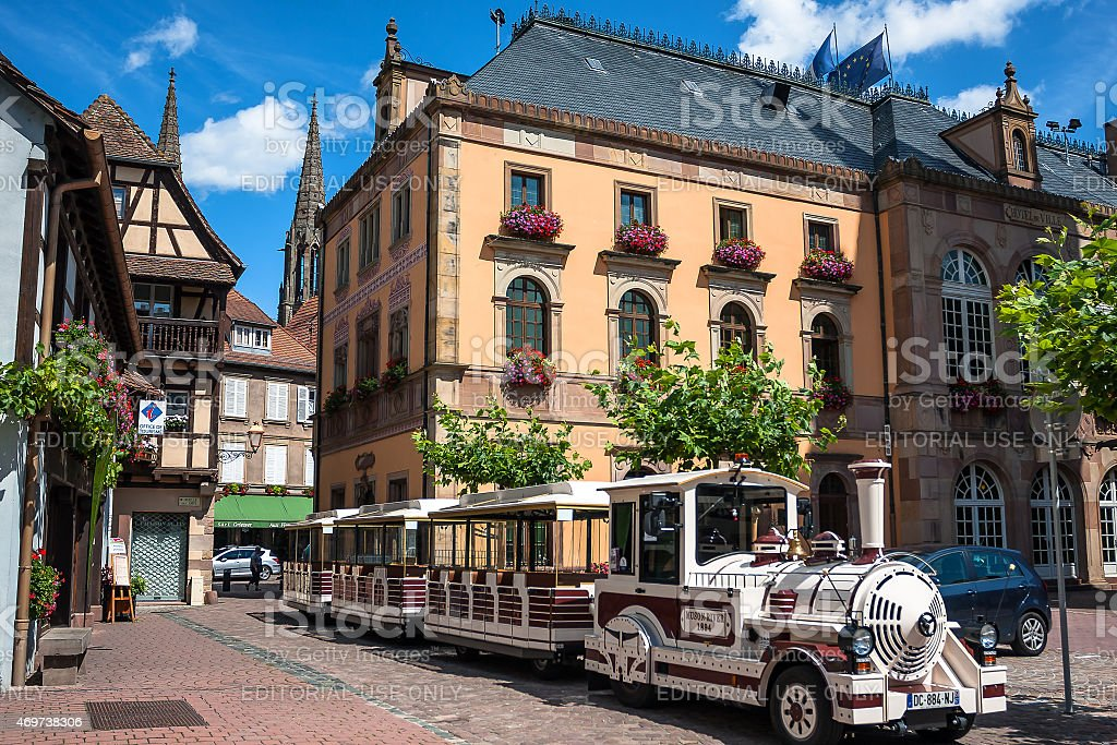 Tourist excursion train in a Obernai town center stock photo