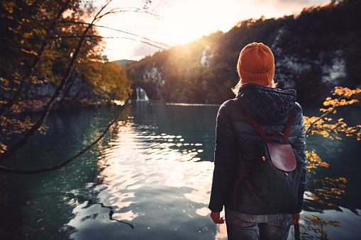 Tourist exploring Plitvice Lakes National Park