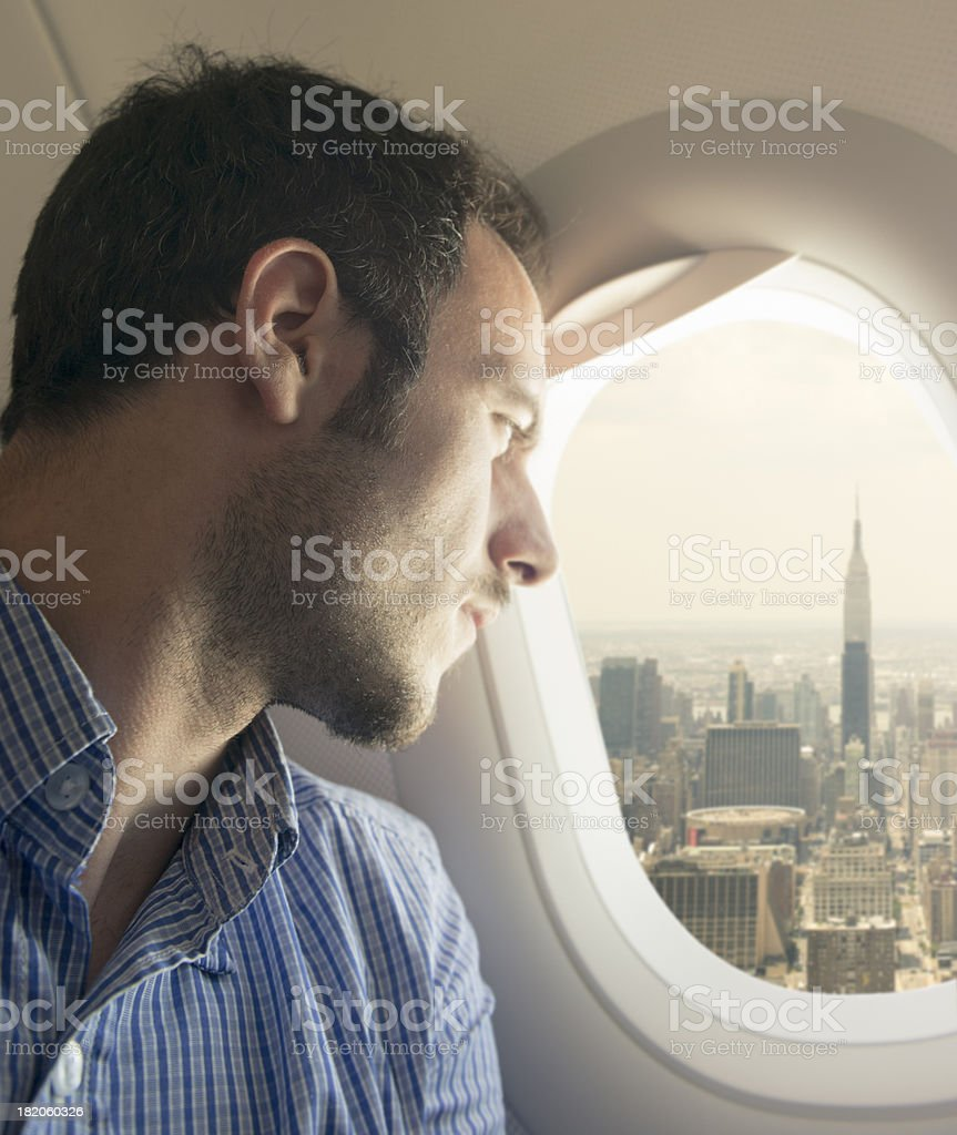 Tourist flying over New York City - USA stock photo