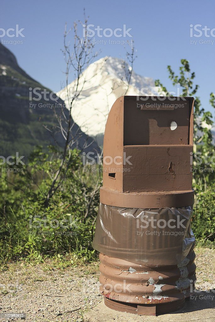 Tourist Garbage Can National Park stock photo