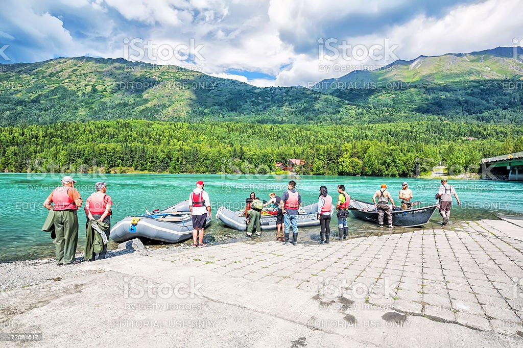 Tourist getting ready to go rafting in Alaska  RM royalty-free stock photo