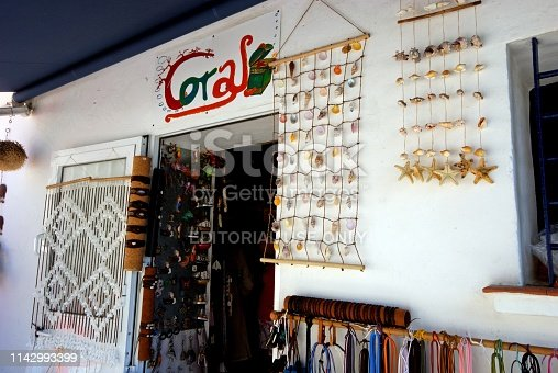 Local town gift shop selling seashells and jewellery, Zahara de los Atunes, Cadiz Province, Andalusia, Spain, Europe.
