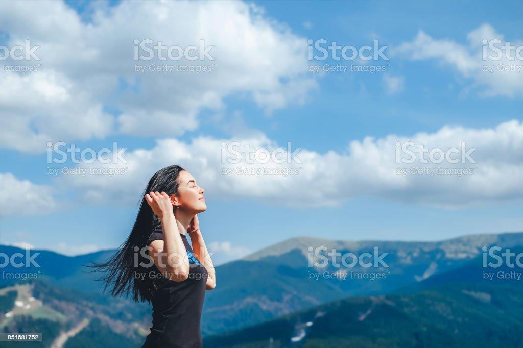 Tourist girl enjoy nature stock photo