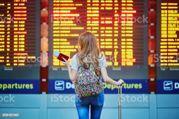 Tourist girl with backpack in international airport picture id638482560?b=1&k=6&m=638482560&s=612x612&h=mt3m0cjuqxmmflhxmpsoo6lotsgs67rvzkc1gff9y9w=
