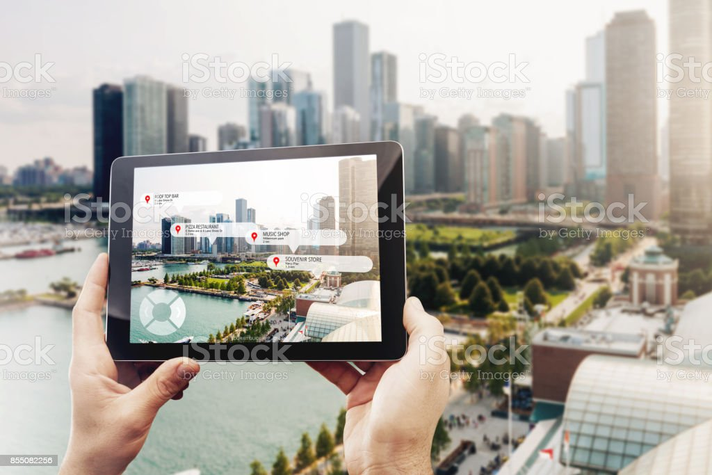 Tourist guide app royalty-free stock photo