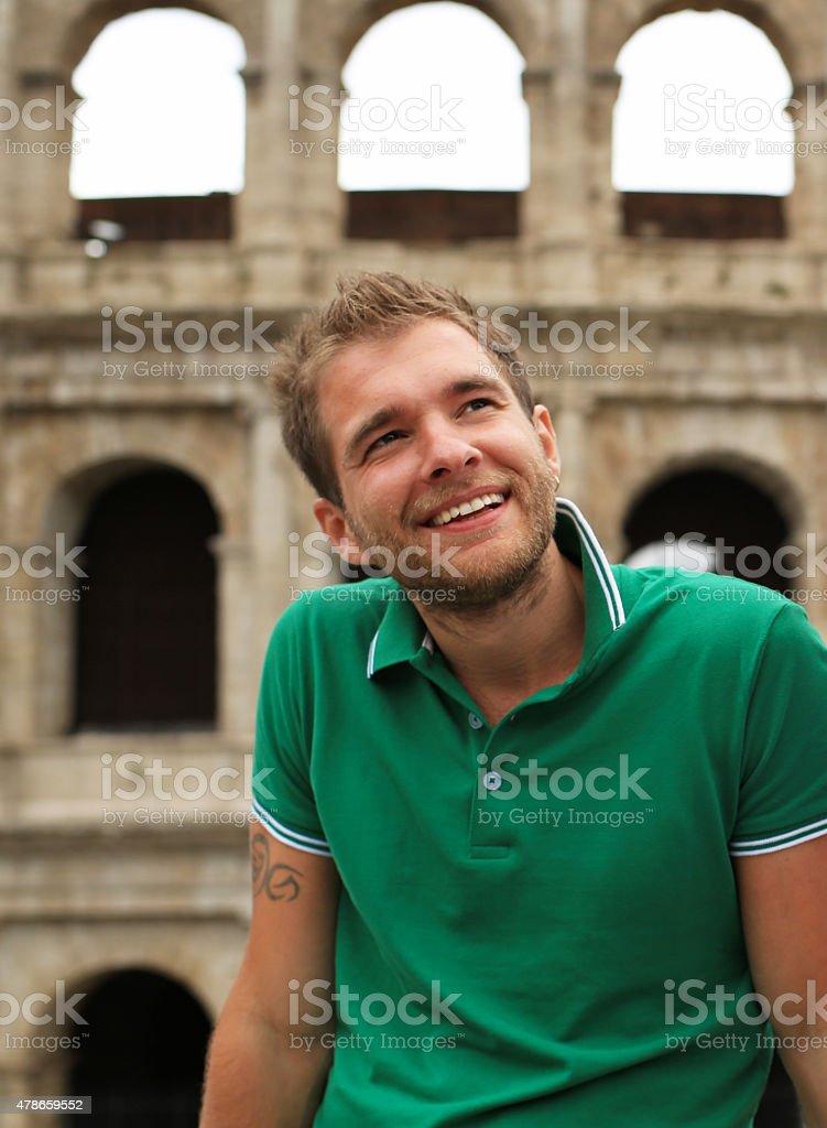 Tourist guy stock photo
