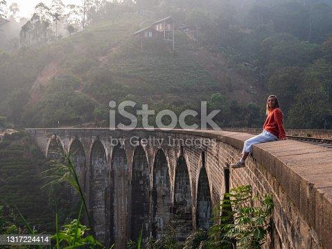 istock Tourist hanging on viaduct bridge in Sri Lanka 1317224414