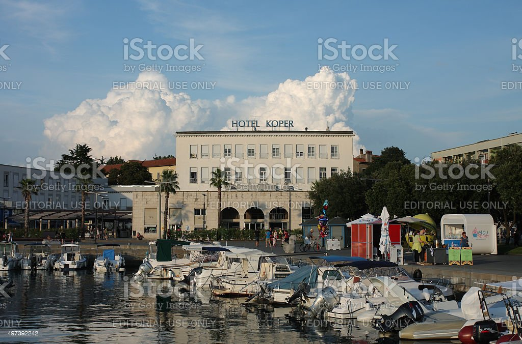 Tourist harbor and hotel Koper stock photo