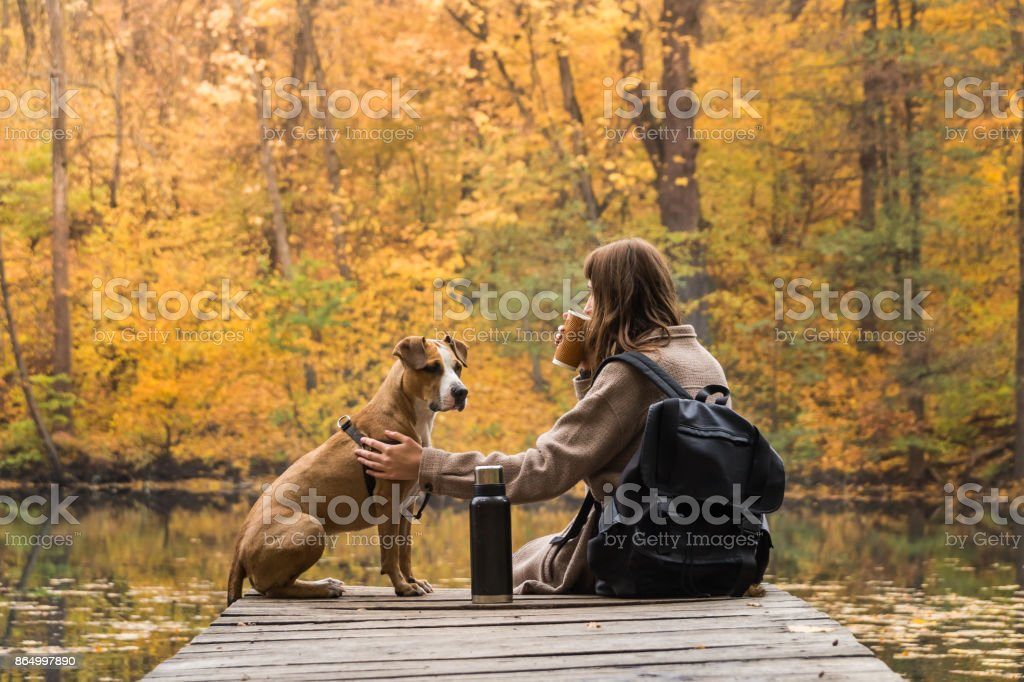Tourist hiker girl sits at riverbank with her pet and enjoys beautiful indian summer sight with cup of coffee from thermos stock photo