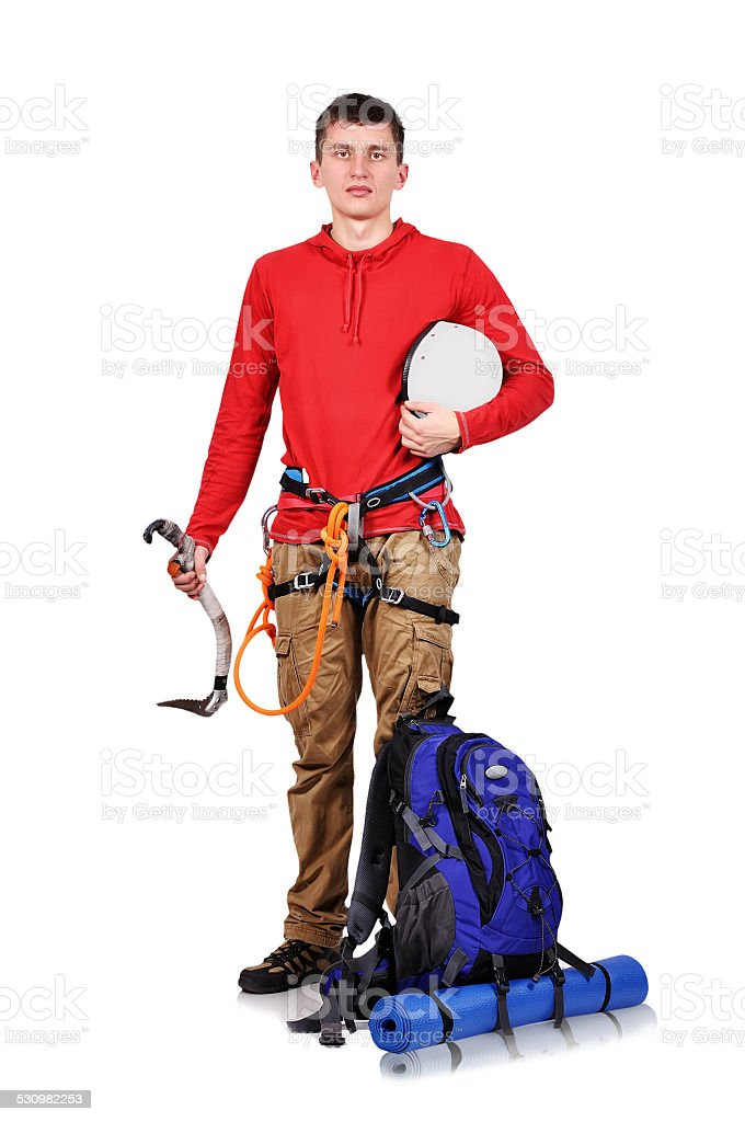 tourist hiker with backpack stock photo
