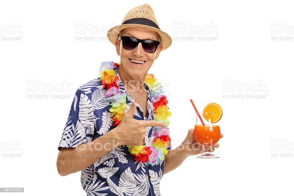 Tourist holding a cocktail royalty-free stock photo