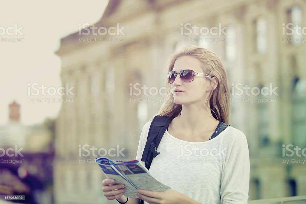 Tourist holding a map stock photo