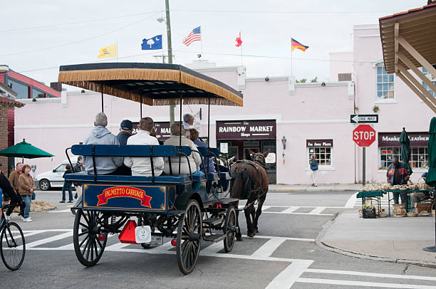 tourist horse carriage city tour in downtown charleston, usa - charleston sc map stock photos and pictures