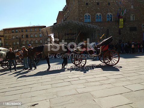 Rome, Italy – April 29, 2017: Photography of the horse carriage for tourists which is used to explore and see the sightseeing of Rome, the capital city of Italy.