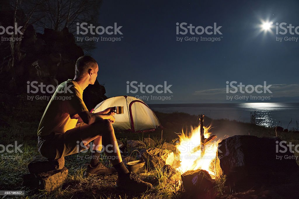 Tourist in a camp stock photo