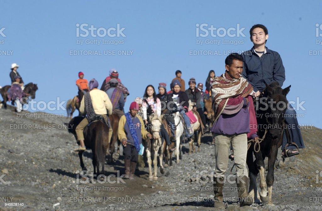 Tourist in Bromo Indonesia stock photo