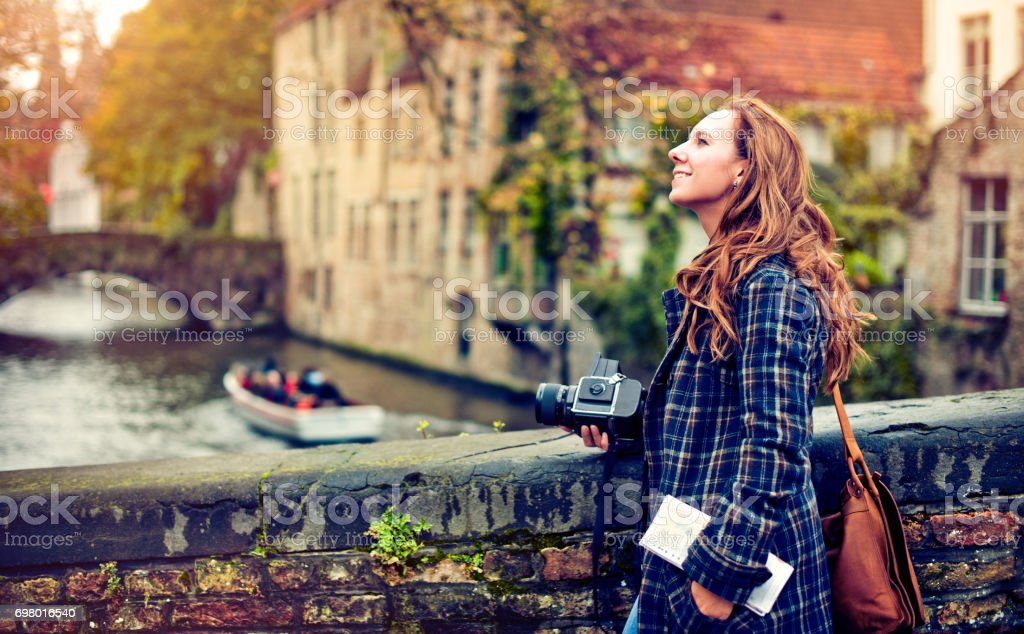 Tourist in Bruges stock photo