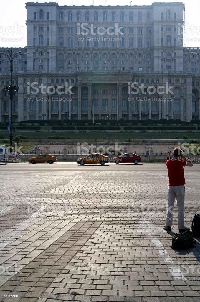 Tourist in Bucharest royalty-free stock photo