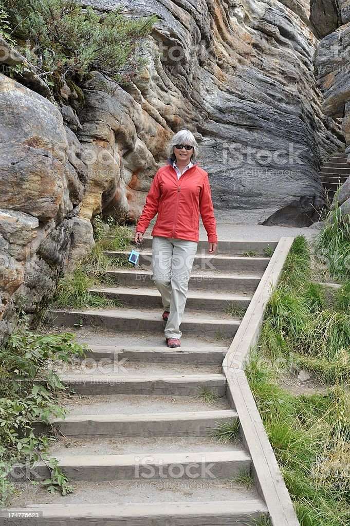 Tourist in Canadian Rockies royalty-free stock photo