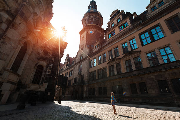 Tourist in Dresden stock photo